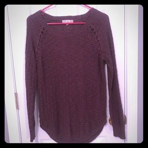 Purple sweater with lace up detail